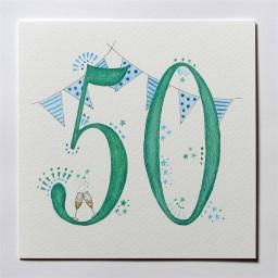 Hand drawn 50th birthday card