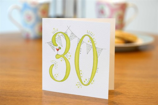 Hand drawn 30th birthday card
