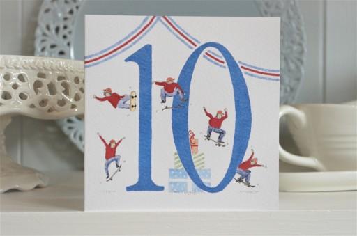 Hand drawn 10th birthday card