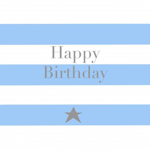 BB23 Happy Birthday Blue Stripes