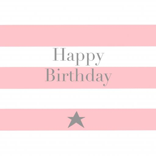 BG45 Happy Birthday Pink Stripes
